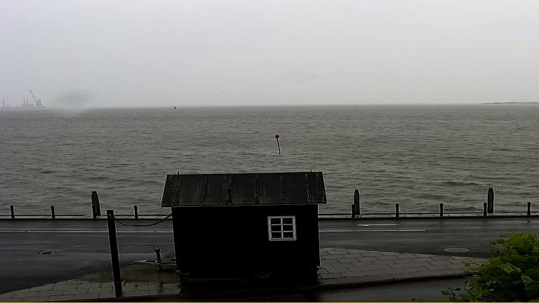 Billeder fra webcam i Nordby på Fanø med Esbjerg i baggrunden